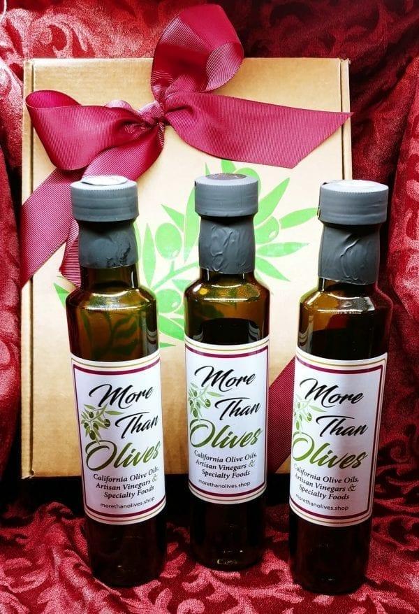 three bottles of olive oil gift set