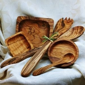 Olive Wood Serving Dishes and Utensils.