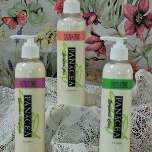 Panacea Olive Oil Body Lotions Lavender Bergamot bottles