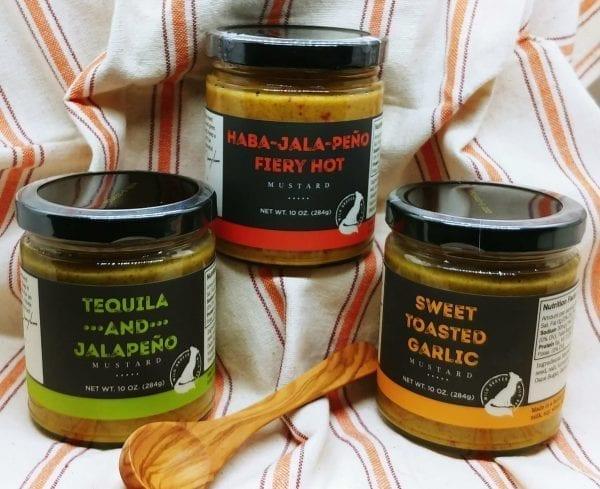 Three Mustard Jars jalapeno sweet toasted garlic